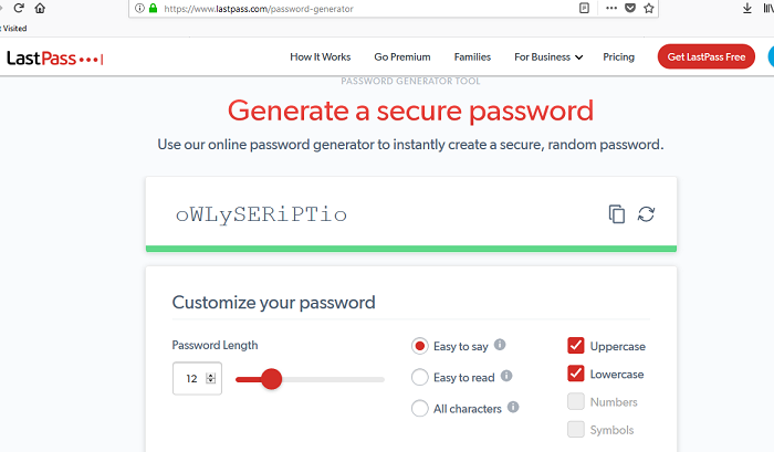 lastpass strong password generator